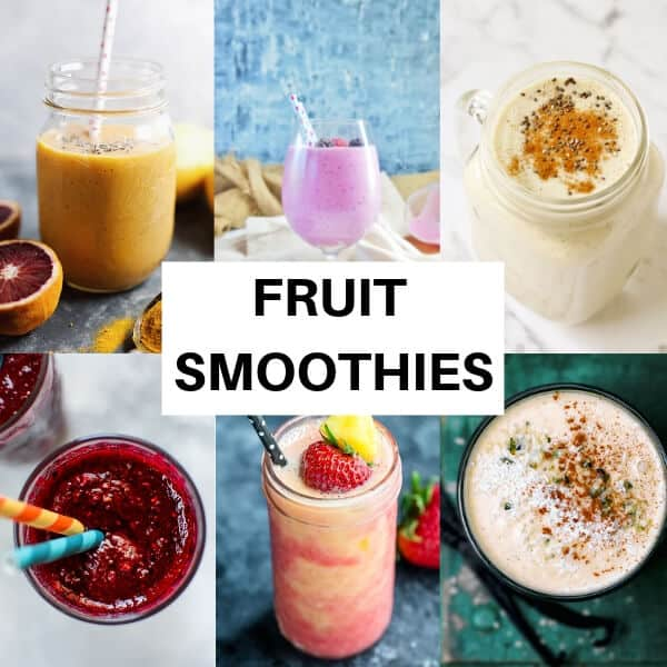 collage of fruit smoothies