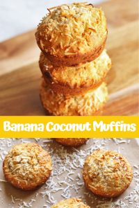 """banana coconut muffins photo collage with text overlay that reads """"banana coconut muffins"""""""