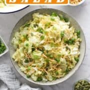 "salad in a large grey bowl with text overlay ""cabbage salad""."