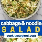 "salad in a large grey bowl with text overlay ""cabbage & noodle salad""."
