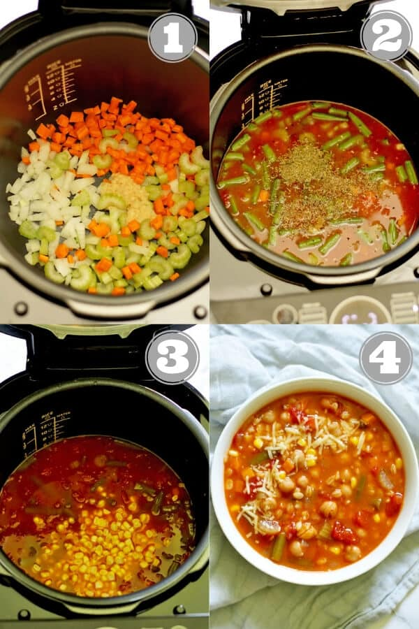 step by step collage of how to make vegetable barley soup