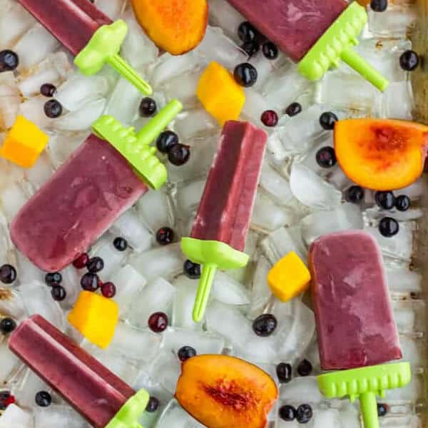 healthy tea popsicles on a bed of ice cubes