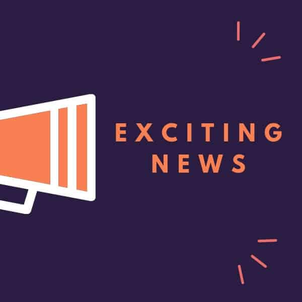 "a graphic with a navy background and an orange megaphone and the words ""exciting news"" coming out of it"
