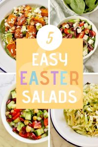 """4 salad images with text overlay that reads """"5 easy Easter salads"""""""