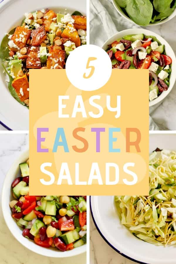"4 salad images with text overlay that reads ""5 easy Easter salads"""