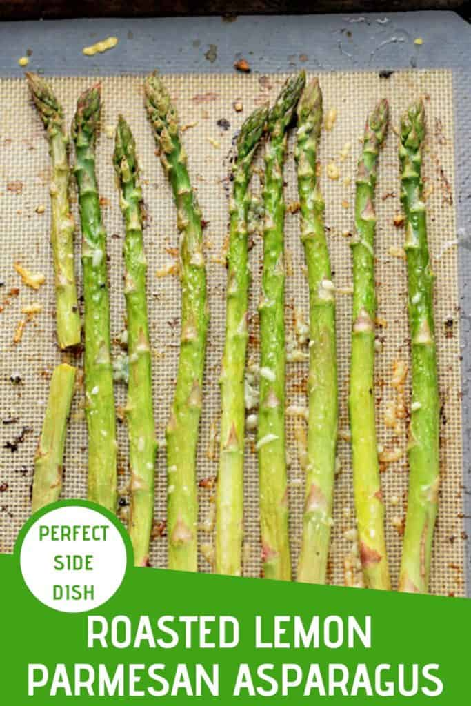 """roasted asparagus spears on a baking tray with text overlay that reads """"roasted lemon parmesan asparagus - perfect side dish"""""""