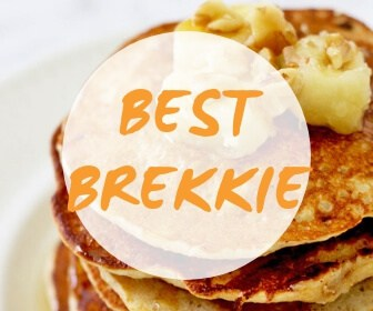 "a stack of pancakes with caramelised banana pieces on top with text overlay ""best brekkie"""