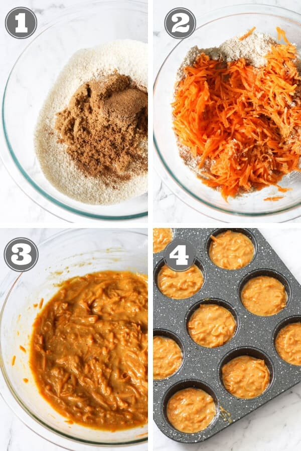 step by step images on how to make carrot cupcakes