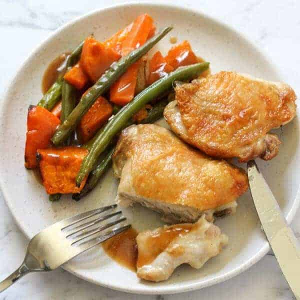 Sheet Pan Crispy Baked Chicken Thighs and Vegetables
