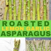 roasted asparagus on a baking tray.