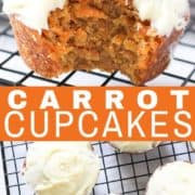 carrot cupcakes with cream cheese frosting on a wire cooling rack.