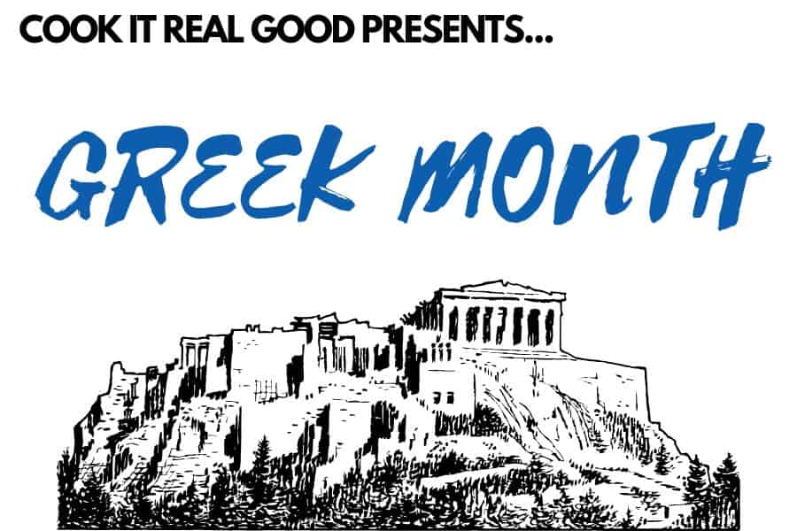 "sketch of the aropolis of Athens with a text overlay ""cook it real good presents... Greek Month"""