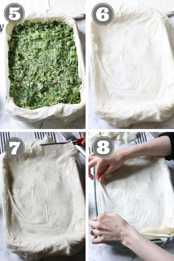 step by step photos on how to make spanakopita.