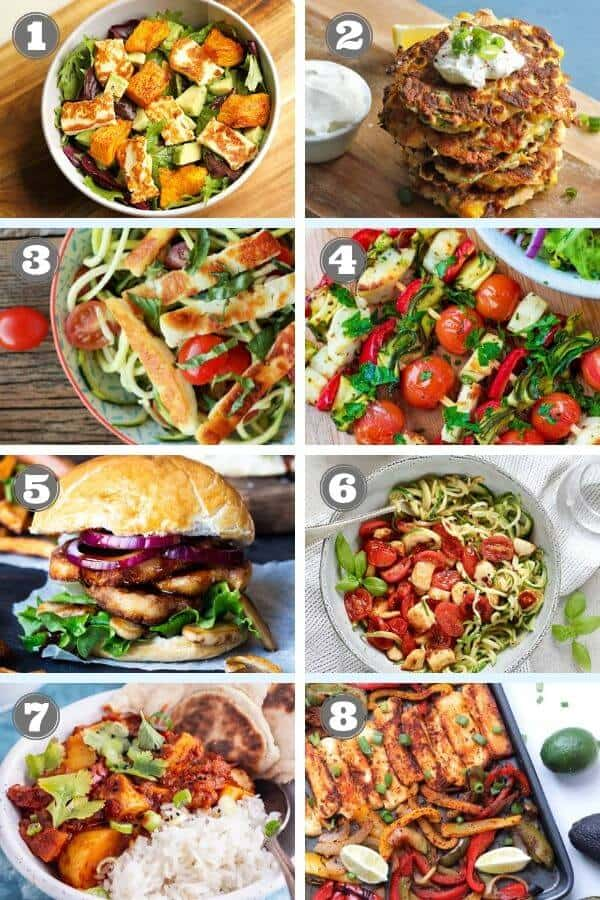 a collage of multiple images of halloumi recipes.
