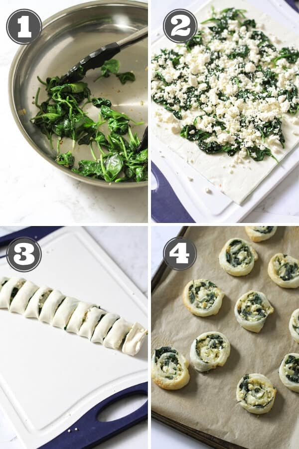 step by step photos on how to make spinach & feta pinwheels