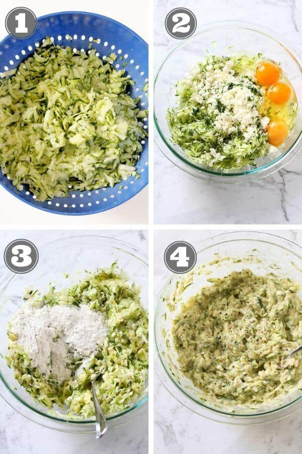 step by step instructions on how to make zucchini fritters