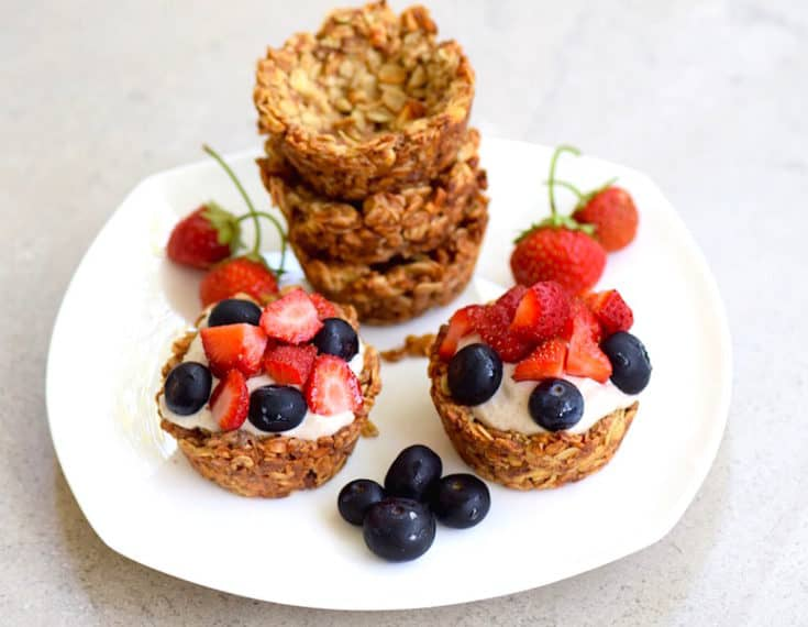 Granola Cups with Banana Cream {Vegan, Gluten Free}