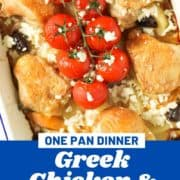"chicken thighs on top of a bed of roast potatoes with text overlay ""sheet pan Greek chicken and potatoes""."