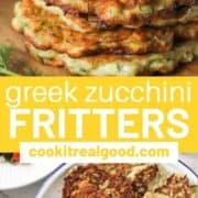 "fritters stacked on top of each other with text overlay ""Greek zucchini fritters""."