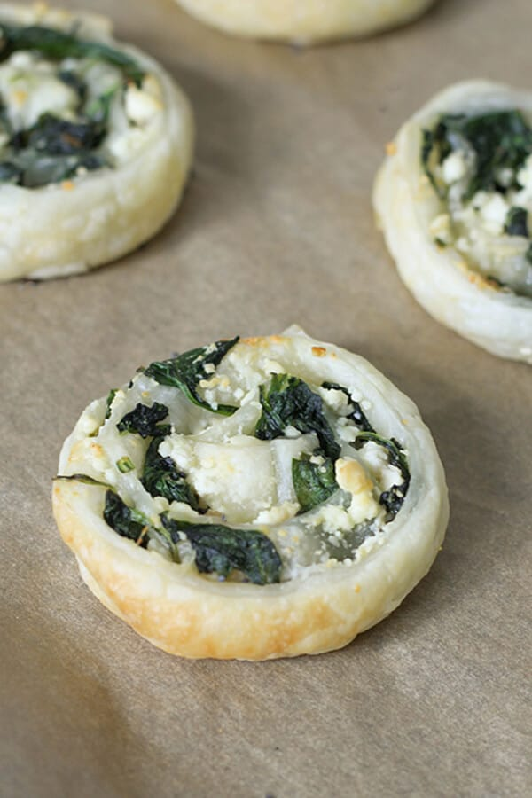 close up on a spinach & feta pinwheel
