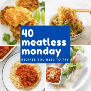 "collage of food images with text overlay ""40 meatless monday recipes you need to try""."
