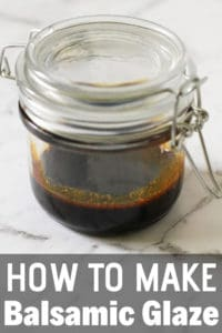 "balsamic glaze in a glass jar with text overlay ""how to make balsamic glaze""."