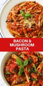 "two images of pasta with text overlay ""bacon & mushroom pasta"""