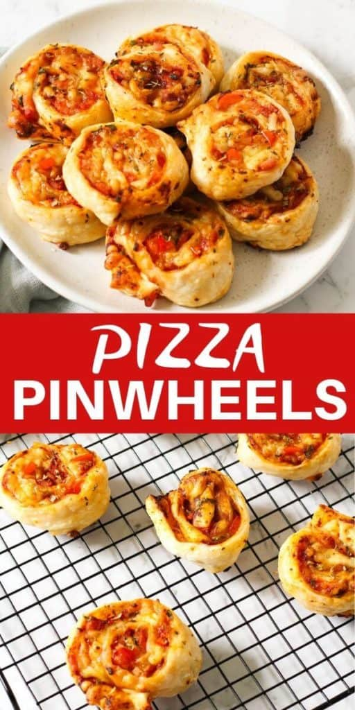 """two pinwheel images with text overlay """"pizza pinwheels""""."""