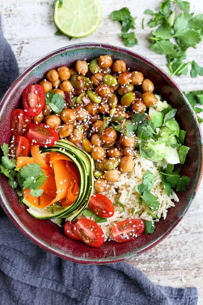 Korean BBQ Chickpea Bento Bowls Recipe