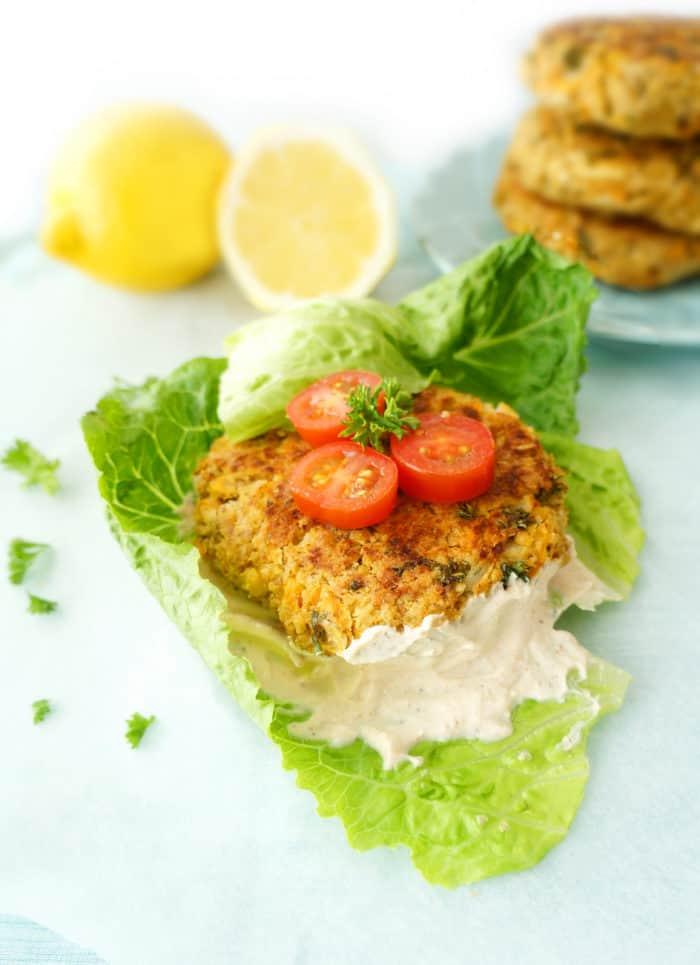 Lemon Falafel Burgers with Greek Yogurt Tahini Spread