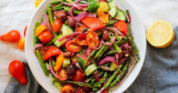 Roasted Whole30 Greek Salad (Paleo, Keto, Vegan)