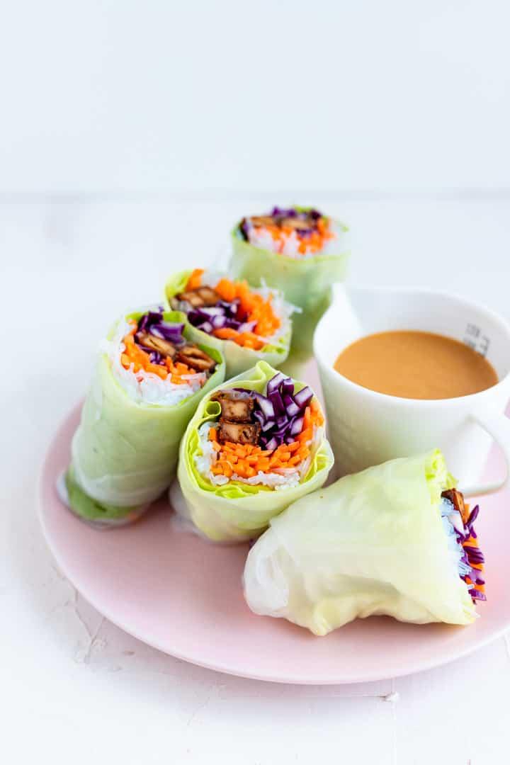 Vegan Summer Rolls with Peanut Sauce | Aline Made