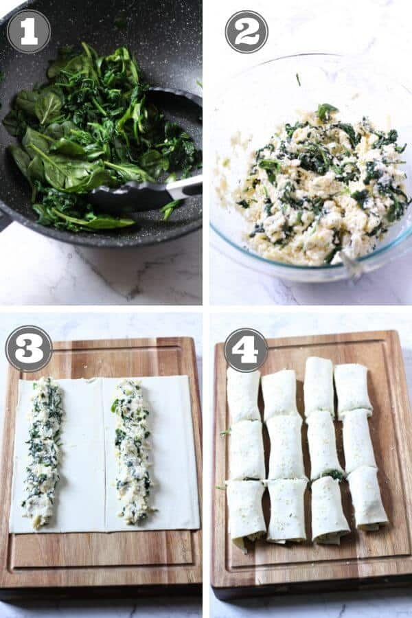 step by step photo instructions for how to make spinach and ricotta rolls.