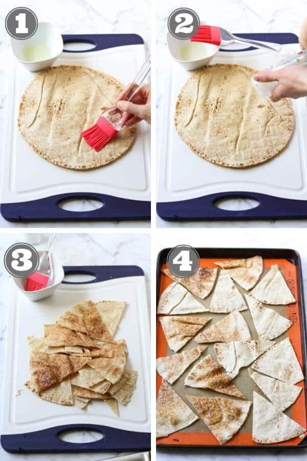 step by step photo instructions on how to make pita chips.