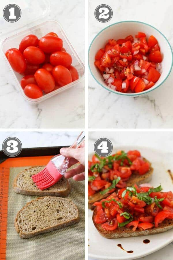 step by step photo instructions on how to make bruschetta.