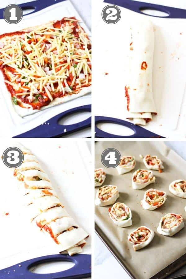 step by step photo instructions on how to make pizza pinwheels.