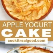 "slice of cake on a flower plate with text overlay ""apple yogurt cake""."