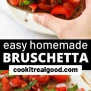 "tomato toasts on a white plate with text overlay ""easy homemade bruschetta""."