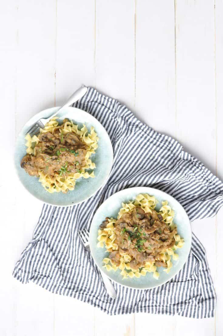 Vegetarian Instant Pot Lentil and Mushroom Stroganoff