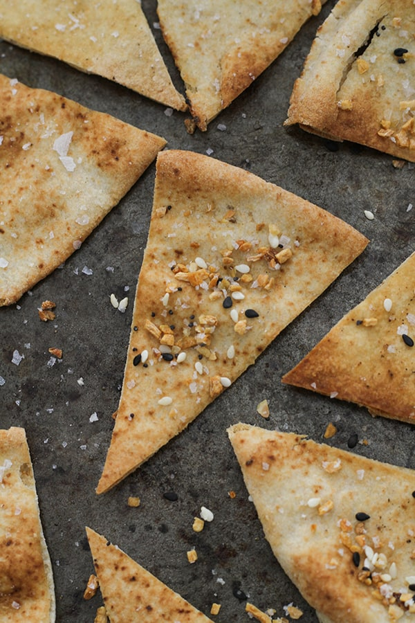 pita chips on a baking tray.