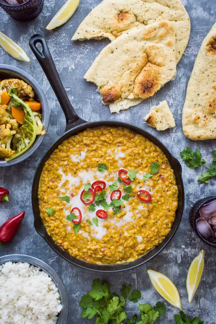 Red Lentil Dhal With Roasted Cauliflower and Butternut Squash (Vegan)