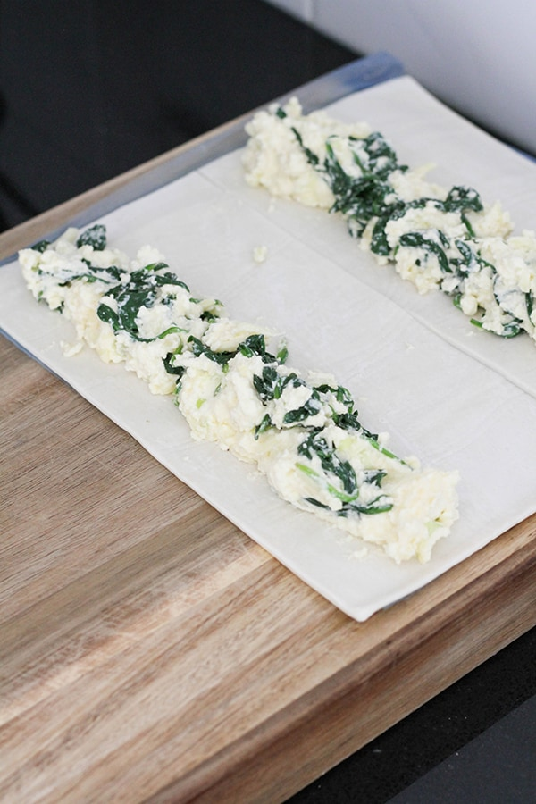 spinach ricotta mix laid on top of puff pastry.