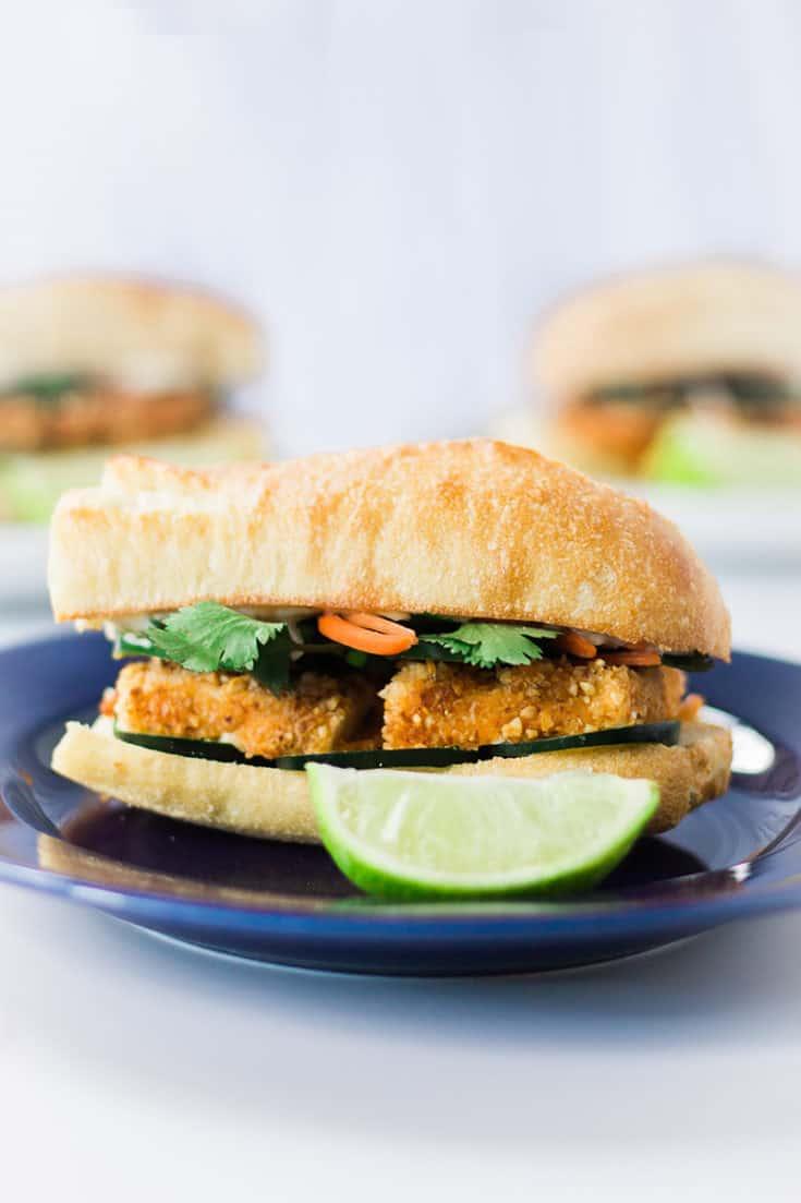 Vegan Banh Mi with peanut crusted tofu