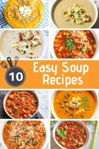 "a collage of soup images with text overlay ""10 easy soup recipes""."