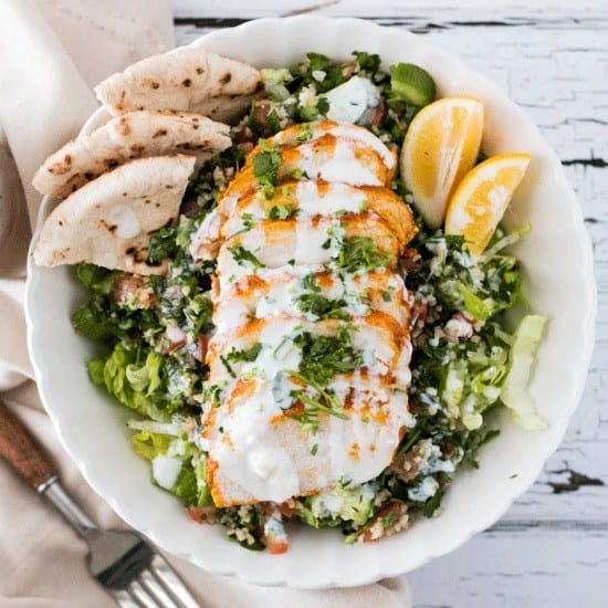 Chicken Shawarma Salad With Garlic Yogurt Sauce