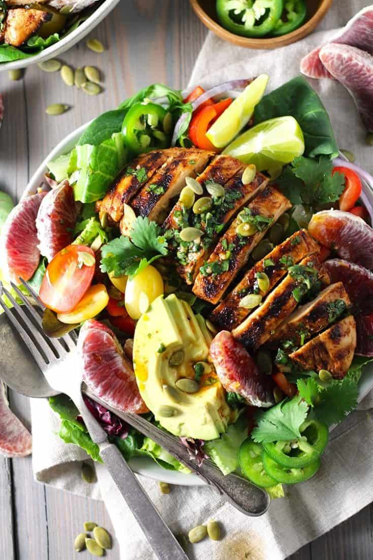 Chipotle Chicken and Blood Orange Salad with Honey Lime Dressing
