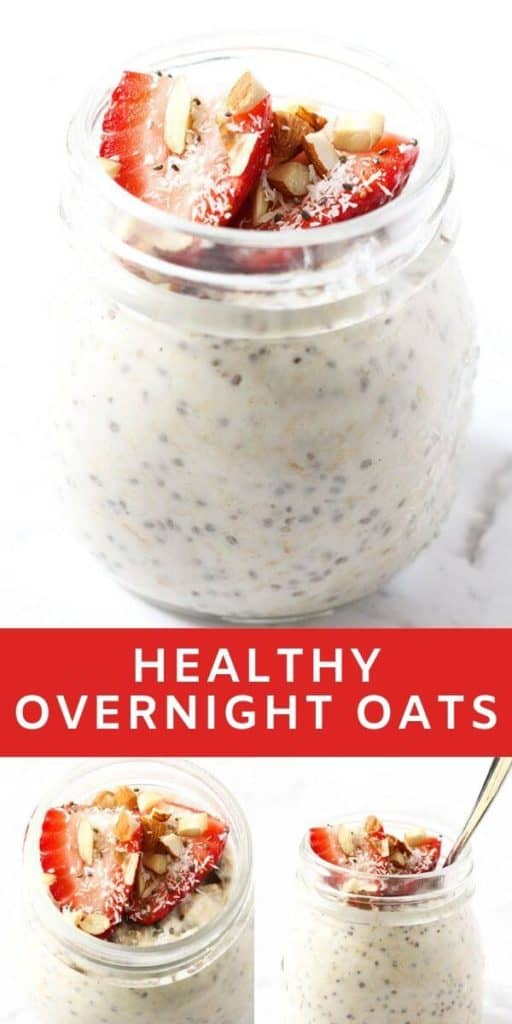 """multiple images of overnight oats in a glass jar with text overlay """"healthy overnight oats""""."""