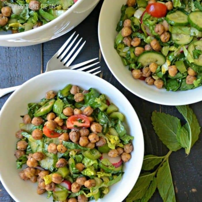 Easy Fattoush Salad Recipe with Chickpeas