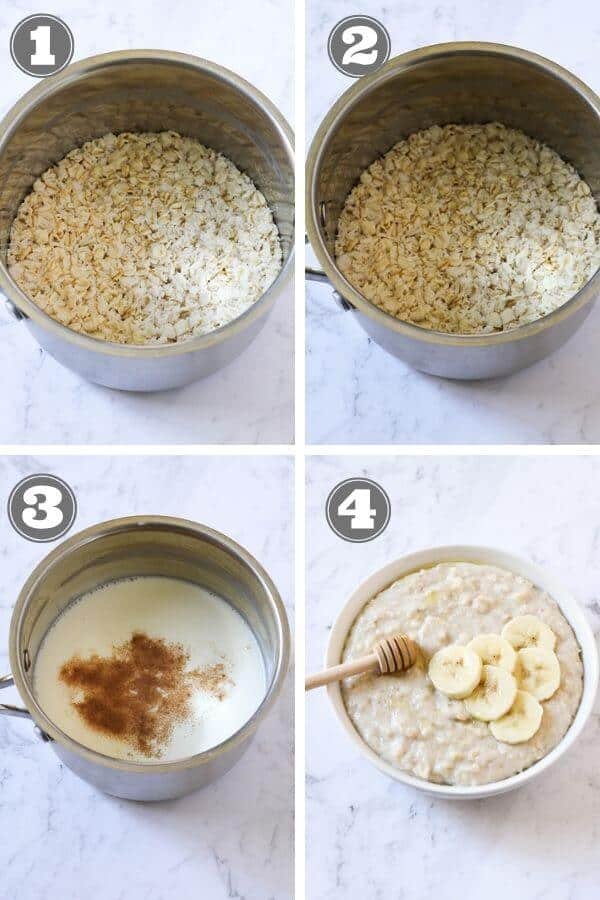 step by step photo instructions on how to make oatmeal on the stovetop.