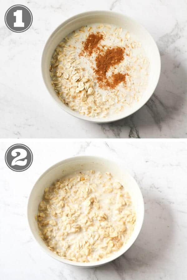 step by step photo instructions on how to make oatmeal in the microwave.
